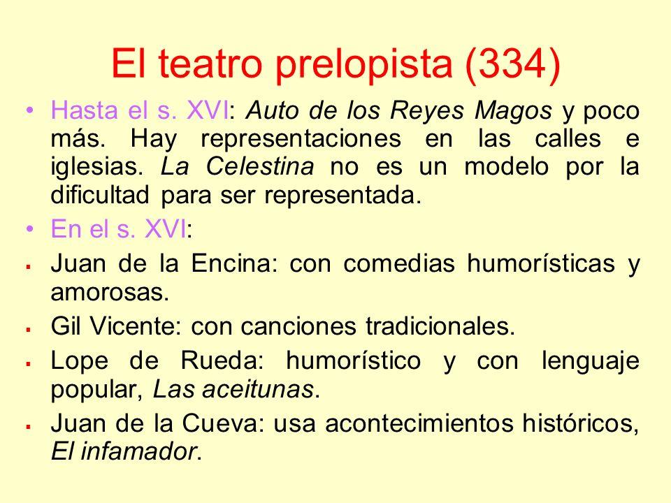 El teatro prelopista (334) Hasta el s. XVI: Auto de los Reyes Magos y poco más. Hay representaciones en las calles e iglesias. La Celestina no es un m