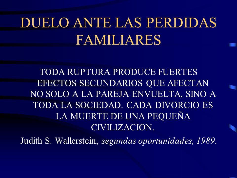 DUELO ANTE LAS PERDIDAS FAMILIARES TODA RUPTURA PRODUCE FUERTES EFECTOS SECUNDARIOS QUE AFECTAN NO SOLO A LA PAREJA ENVUELTA, SINO A TODA LA SOCIEDAD.