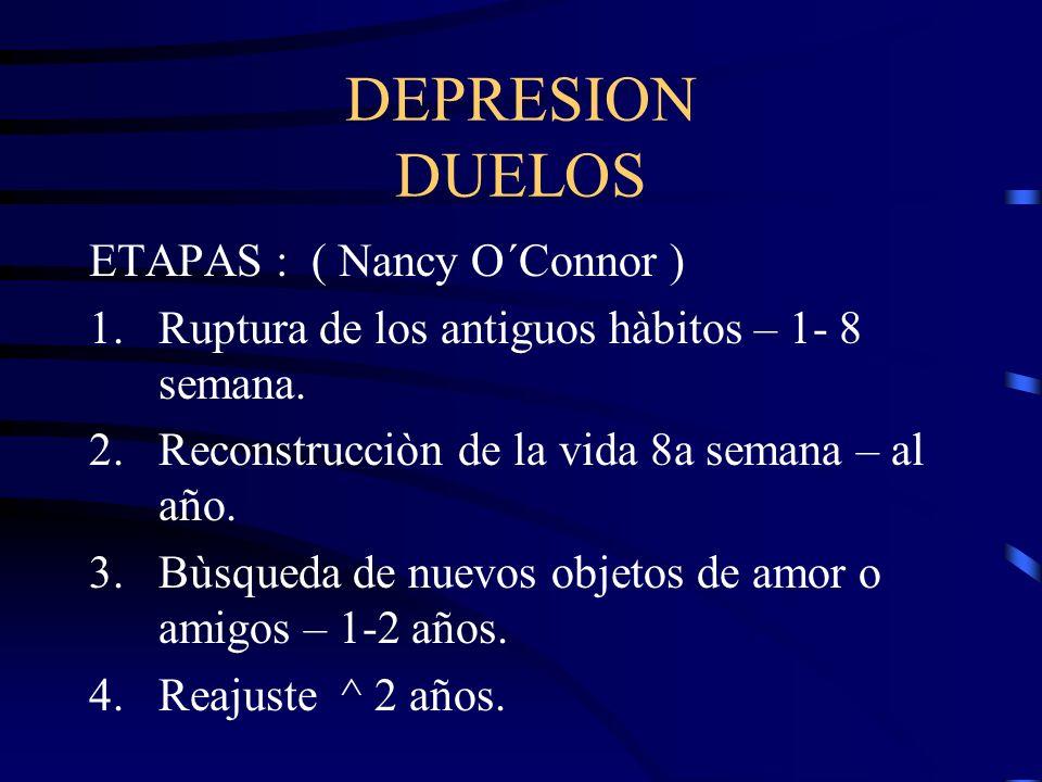 DEPRESION DUELOS ETAPAS : ( Nancy O´Connor ) 1.Ruptura de los antiguos hàbitos – 1- 8 semana. 2.Reconstrucciòn de la vida 8a semana – al año. 3.Bùsque
