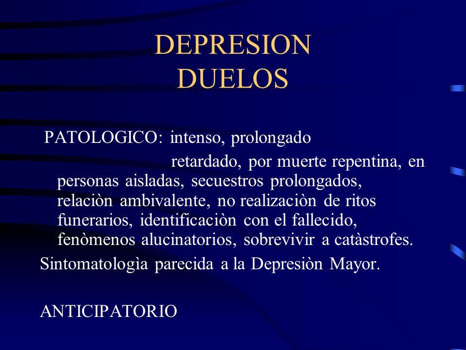 DEPRESION DUELOS PATOLOGICO: intenso, prolongado retardado, por muerte repentina, en personas aisladas, secuestros prolongados, relaciòn ambivalente,