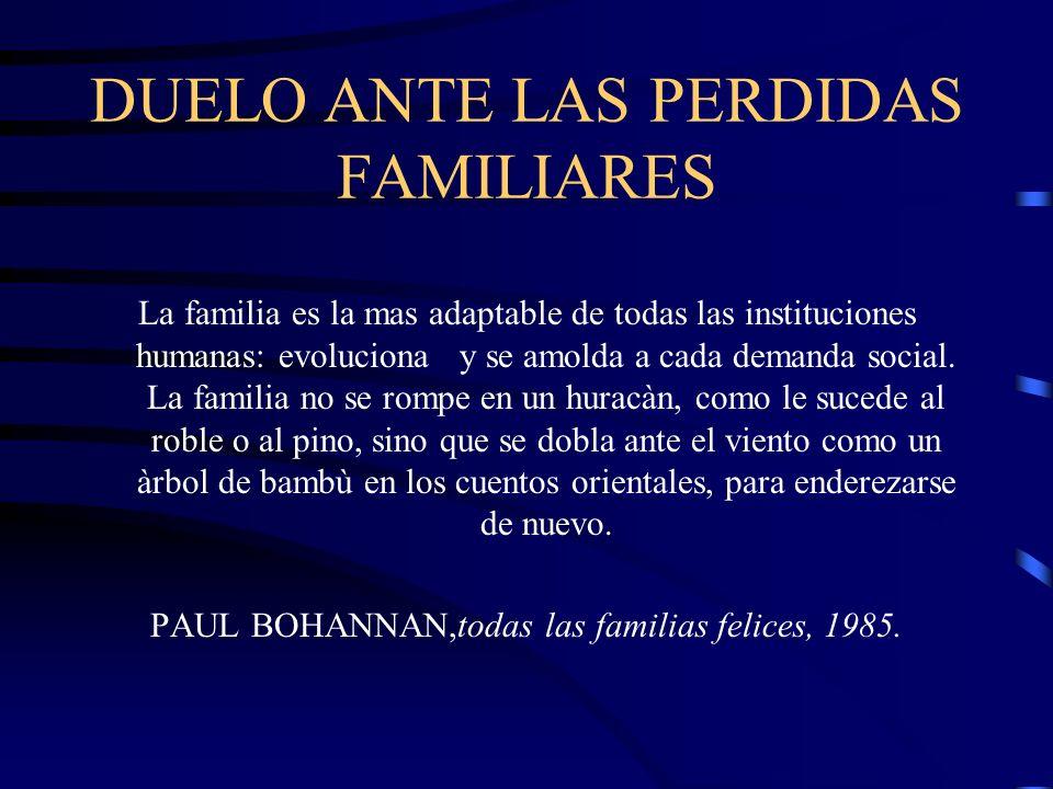 DUELO ANTE LAS PERDIDAS FAMILIARES La familia es la mas adaptable de todas las instituciones humanas: evoluciona y se amolda a cada demanda social. La