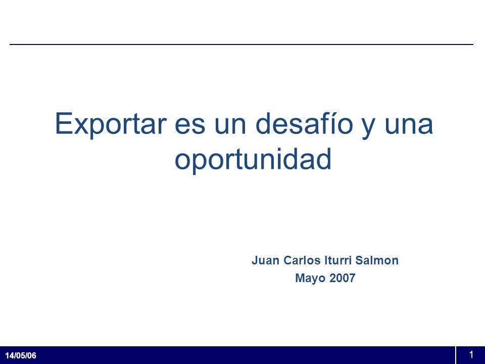 14/05/06 1 Exportar es un desafío y una oportunidad Juan Carlos Iturri Salmon Mayo 2007