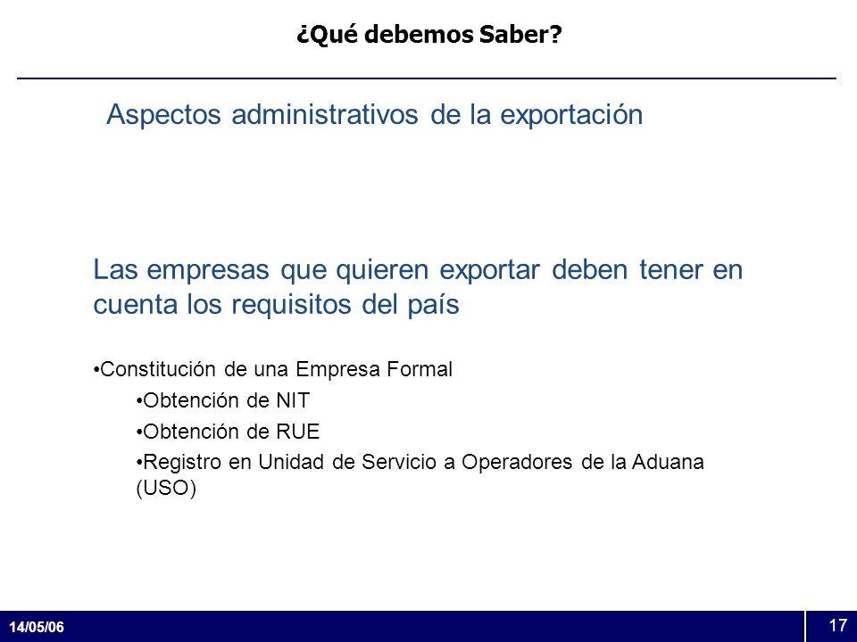 14/05/06 17 ¿Qué debemos Saber? Aspectos administrativos de la exportación Las empresas que quieren exportar deben tener en cuenta los requisitos del