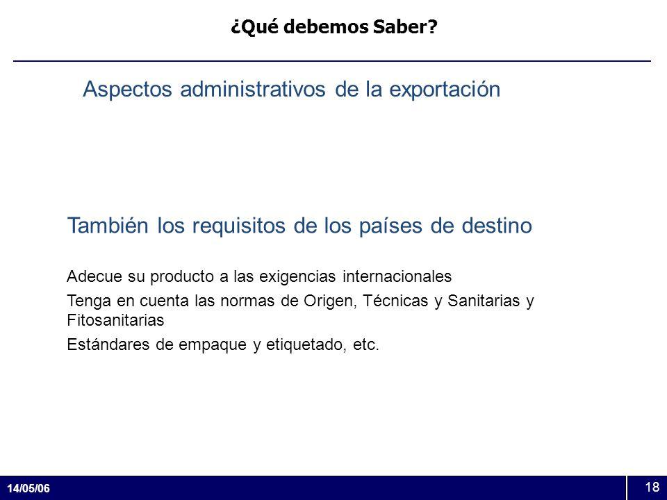 14/05/06 18 ¿Qué debemos Saber? Aspectos administrativos de la exportación También los requisitos de los países de destino Adecue su producto a las ex
