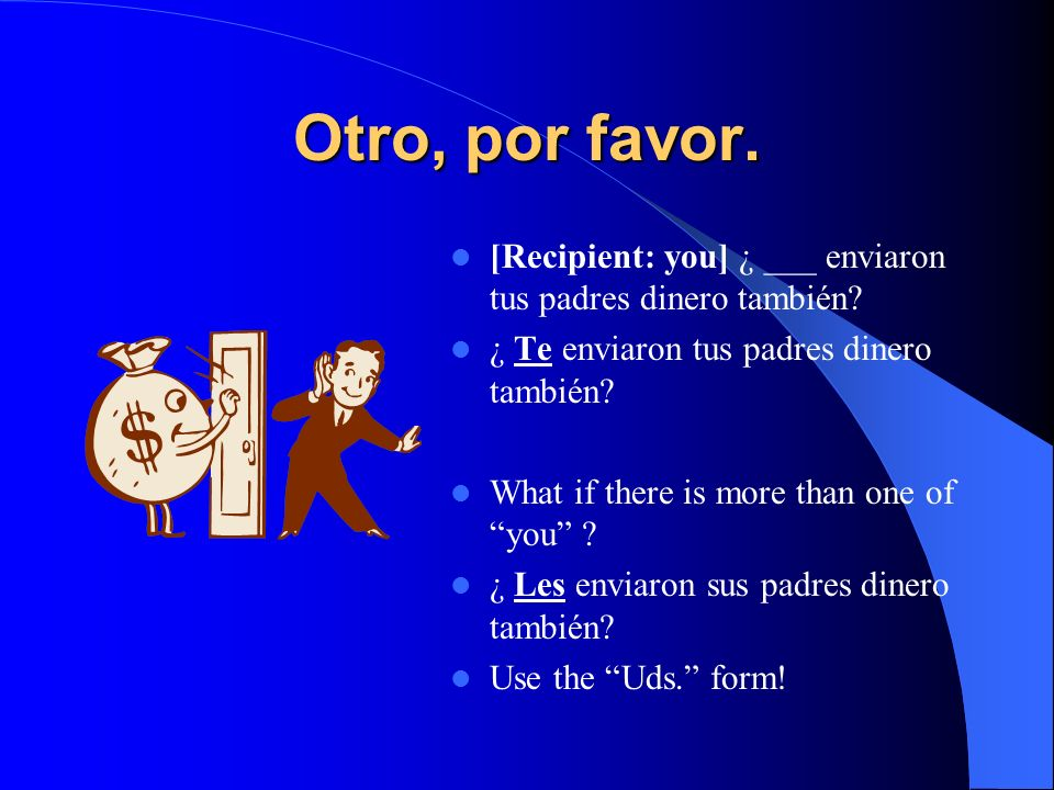 ¡Vamos a practicar! Complete each sentence with an appropriate indirect object pronoun. The recipient for each sentence is provided. [Recipient: me] M