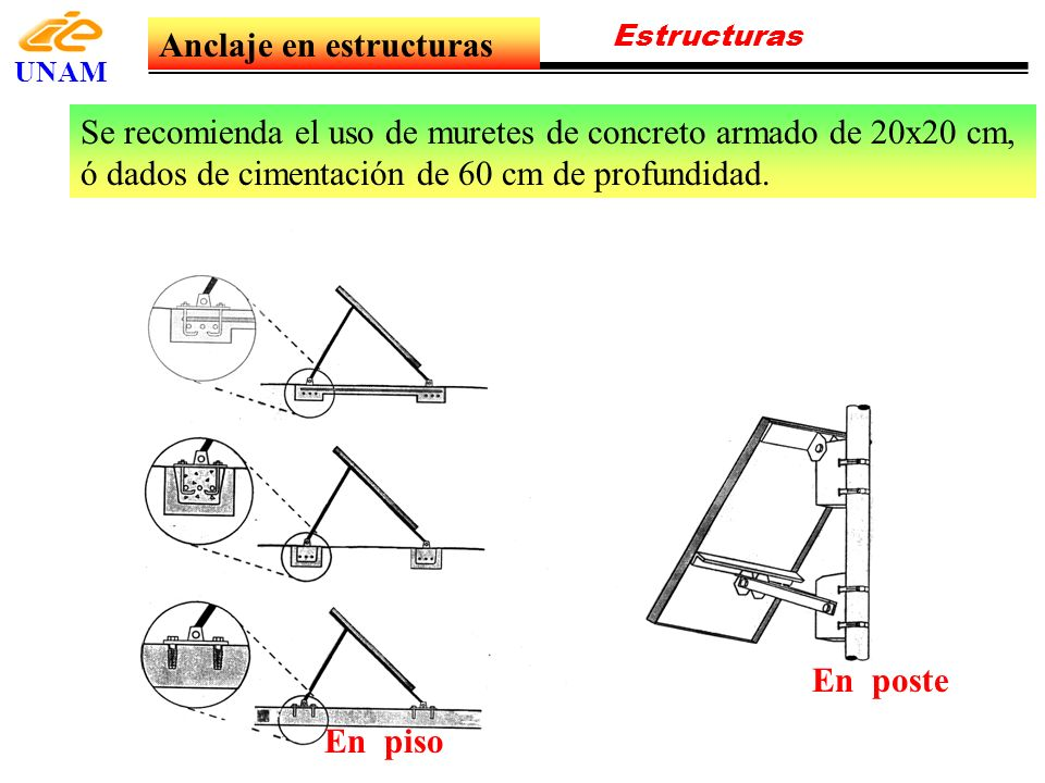 Estructuras UNAM Anclaje en estructuras En piso En poste Se recomienda el uso de muretes de concreto armado de 20x20 cm, ó dados de cimentación de 60
