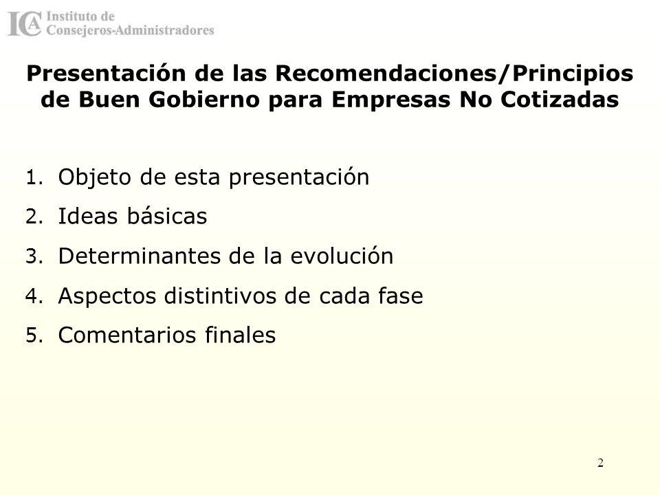 2 Presentación de las Recomendaciones/Principios de Buen Gobierno para Empresas No Cotizadas 1. Objeto de esta presentación 2. Ideas básicas 3. Determ