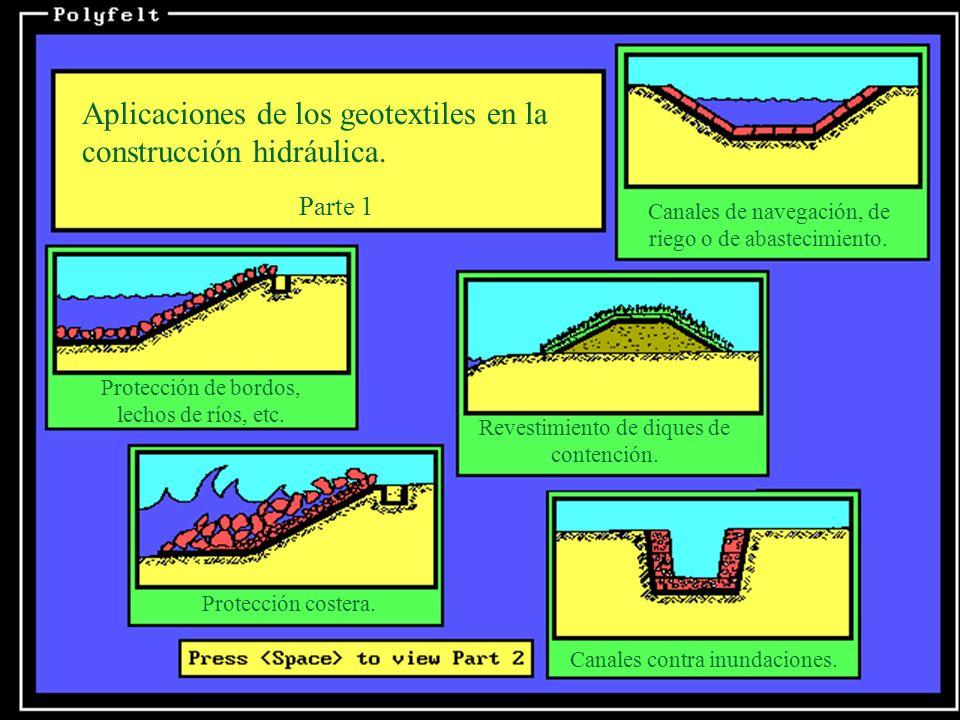 Aplicaciones de los geotextiles en la construcción hidráulica. Parte 1 Canales de navegación, de riego o de abastecimiento. Protección de bordos, lech