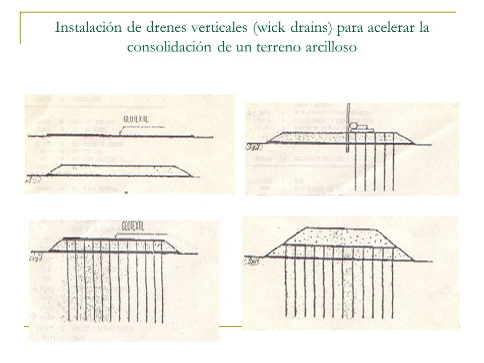 Instalación de drenes verticales (wick drains) para acelerar la consolidación de un terreno arcilloso