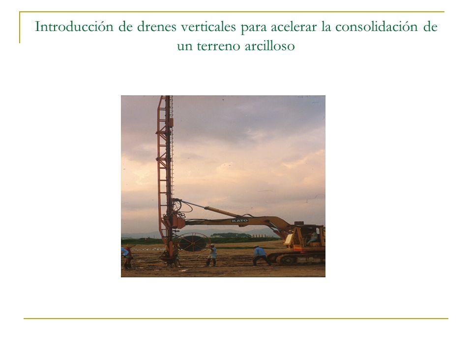 Introducción de drenes verticales para acelerar la consolidación de un terreno arcilloso