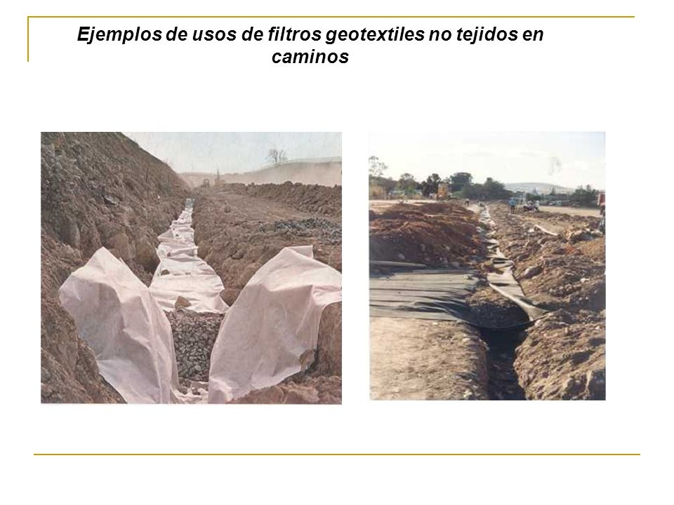 Ejemplos de usos de filtros geotextiles no tejidos en caminos