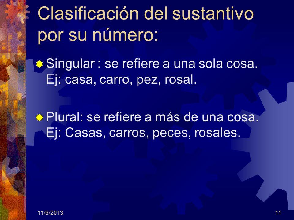 11/9/201311 Clasificación del sustantivo por su número: Singular : se refiere a una sola cosa. Ej: casa, carro, pez, rosal. Plural: se refiere a más d