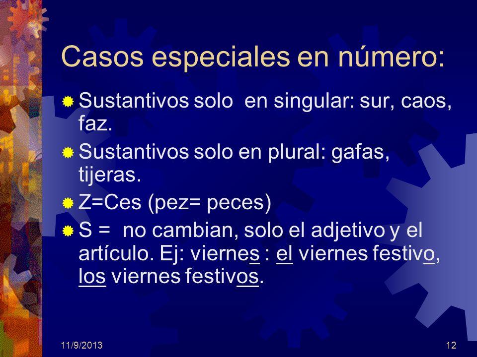 11/9/201312 Casos especiales en número: Sustantivos solo en singular: sur, caos, faz. Sustantivos solo en plural: gafas, tijeras. Z=Ces (pez= peces) S