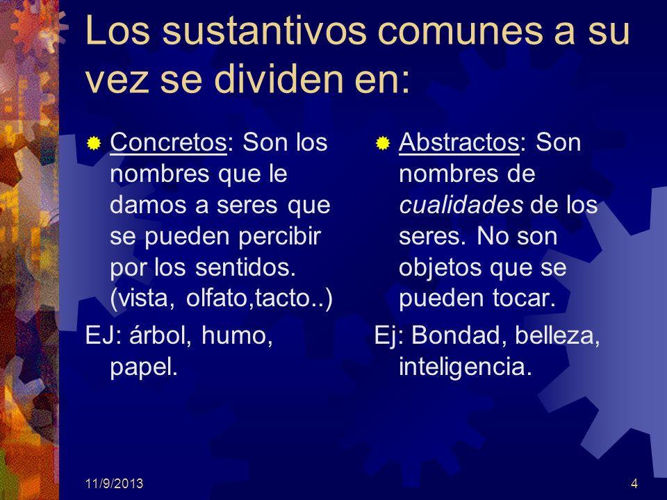 11/9/20134 Los sustantivos comunes a su vez se dividen en: Concretos: Son los nombres que le damos a seres que se pueden percibir por los sentidos. (v