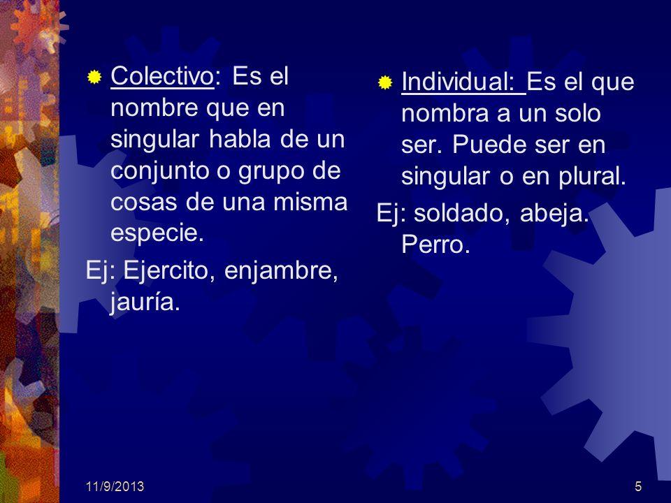 11/9/20135 Colectivo: Es el nombre que en singular habla de un conjunto o grupo de cosas de una misma especie. Ej: Ejercito, enjambre, jauría. Individ