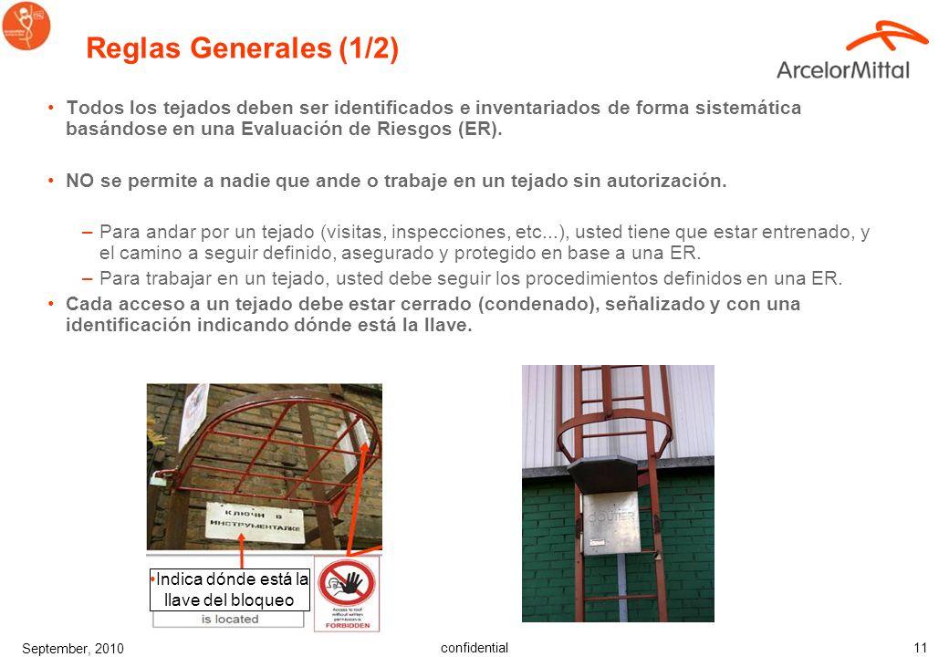 confidential September, 2010 11 Reglas Generales (1/2) Todos los tejados deben ser identificados e inventariados de forma sistemática basándose en una Evaluación de Riesgos (ER).
