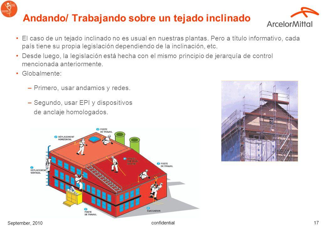 confidential September, 2010 17 Andando/ Trabajando sobre un tejado inclinado El caso de un tejado inclinado no es usual en nuestras plantas.