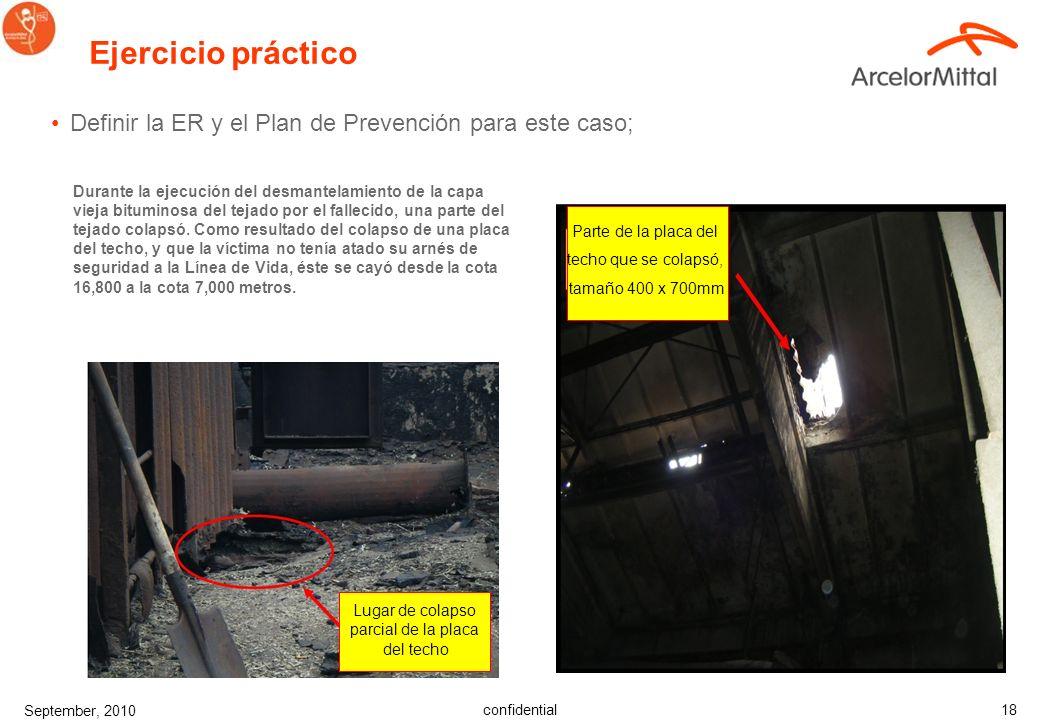 confidential September, 2010 18 Ejercicio práctico Definir la ER y el Plan de Prevención para este caso; Durante la ejecución del desmantelamiento de la capa vieja bituminosa del tejado por el fallecido, una parte del tejado colapsó.