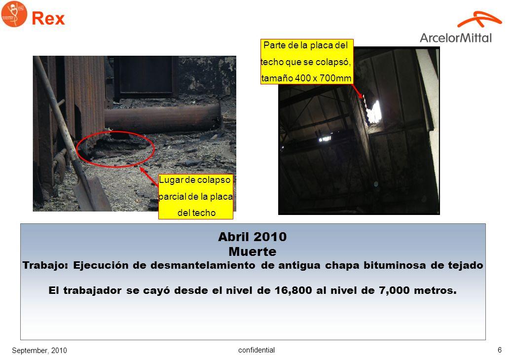 confidential September, 2010 6 Rex Abril 2010 Muerte Trabajo: Ejecución de desmantelamiento de antigua chapa bituminosa de tejado El trabajador se cayó desde el nivel de 16,800 al nivel de 7,000 metros.
