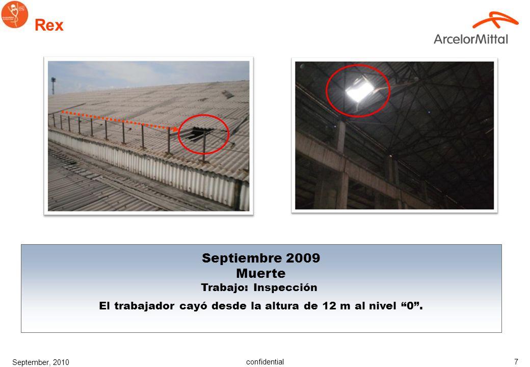 confidential September, 2010 7 Rex Septiembre 2009 Muerte Trabajo: Inspección El trabajador cayó desde la altura de 12 m al nivel 0.