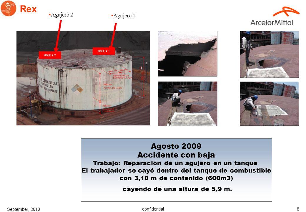 confidential September, 2010 8 Rex Agosto 2009 Accidente con baja Trabajo: Reparación de un agujero en un tanque El trabajador se cayó dentro del tanque de combustible con 3,10 m de contenido (600m3) cayendo de una altura de 5,9 m.