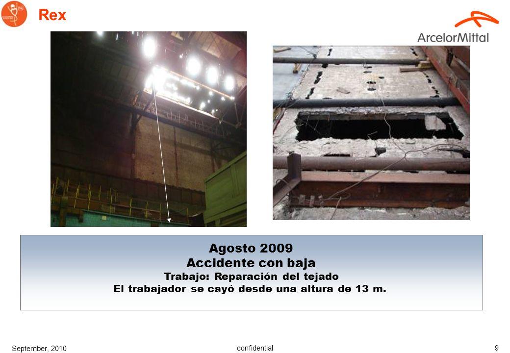 confidential September, 2010 9 Rex Agosto 2009 Accidente con baja Trabajo: Reparación del tejado El trabajador se cayó desde una altura de 13 m.