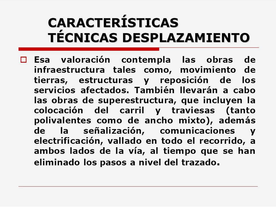 CARACTERÍSTICAS TÉCNICAS DESPLAZAMIENTO Esa valoración contempla las obras de infraestructura tales como, movimiento de tierras, estructuras y reposición de los servicios afectados.
