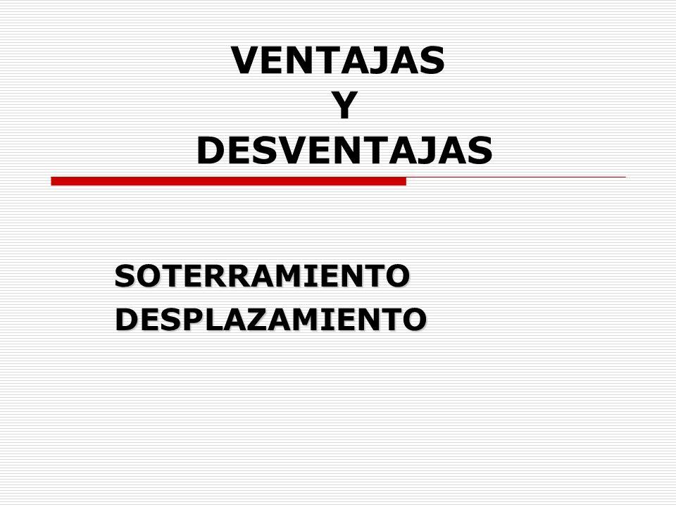 VENTAJAS Y DESVENTAJAS SOTERRAMIENTODESPLAZAMIENTO