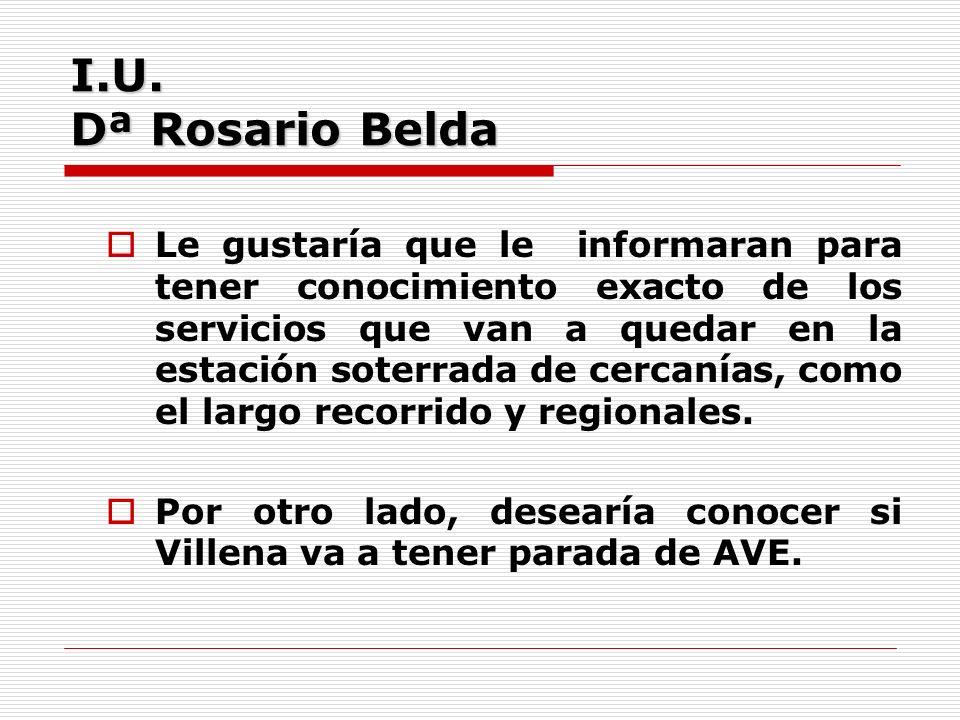 I.U. Dª Rosario Belda Le gustaría que le informaran para tener conocimiento exacto de los servicios que van a quedar en la estación soterrada de cerca