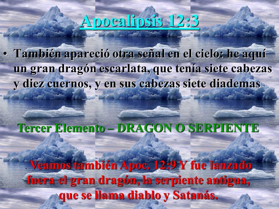 Apocalipsis 12:3 TambiénTambién apareció otra señal en el cielo: he aquí un gran dragón escarlata, que tenía siete cabezas y diez cuernos, y en sus ca