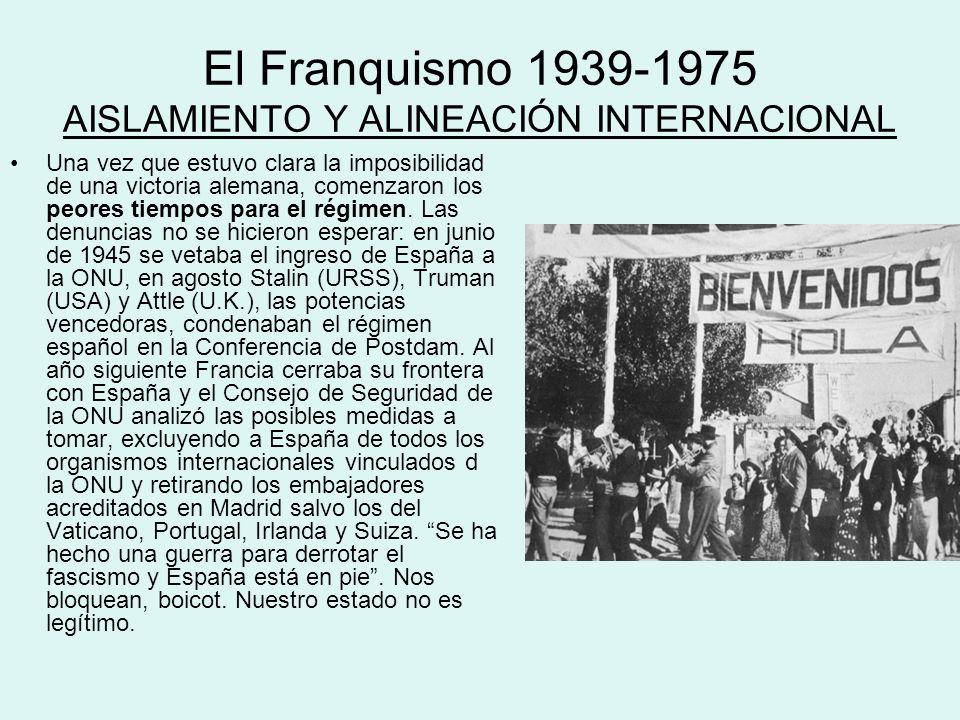 El Franquismo 1939-1975 AISLAMIENTO Y ALINEACIÓN INTERNACIONAL Una vez que estuvo clara la imposibilidad de una victoria alemana, comenzaron los peore
