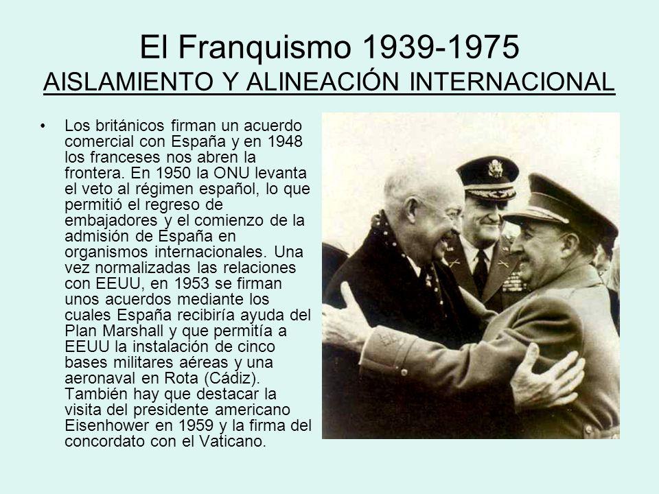 El Franquismo 1939-1975 AISLAMIENTO Y ALINEACIÓN INTERNACIONAL Los británicos firman un acuerdo comercial con España y en 1948 los franceses nos abren