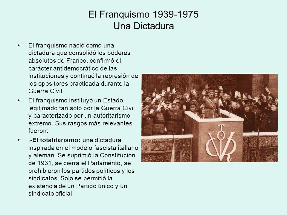 El Franquismo 1939-1975 Una Dictadura El franquismo nació como una dictadura que consolidó los poderes absolutos de Franco, confirmó el carácter antid