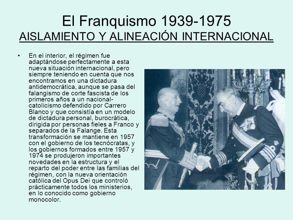 El Franquismo 1939-1975 AISLAMIENTO Y ALINEACIÓN INTERNACIONAL En el interior, el régimen fue adaptándose perfectamente a esta nueva situación interna
