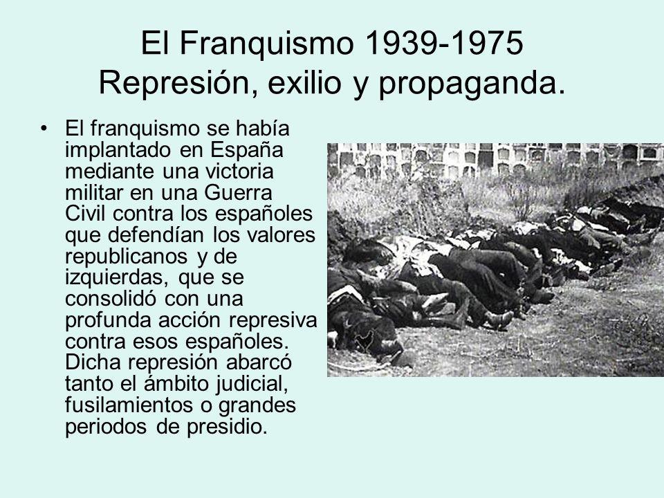El Franquismo 1939-1975 Represión, exilio y propaganda. El franquismo se había implantado en España mediante una victoria militar en una Guerra Civil