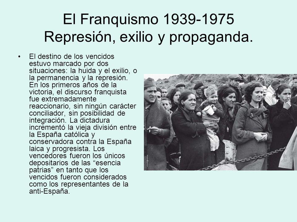 El Franquismo 1939-1975 Represión, exilio y propaganda. El destino de los vencidos estuvo marcado por dos situaciones: la huida y el exilio, o la perm
