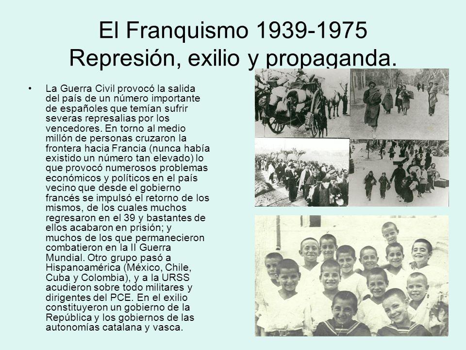 El Franquismo 1939-1975 Represión, exilio y propaganda. La Guerra Civil provocó la salida del país de un número importante de españoles que temían suf
