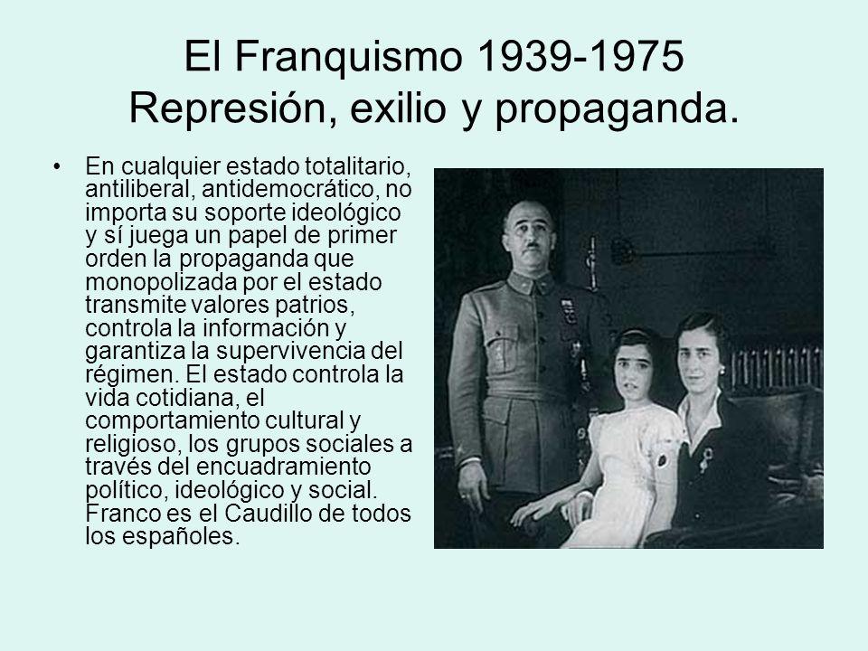 El Franquismo 1939-1975 Represión, exilio y propaganda. En cualquier estado totalitario, antiliberal, antidemocrático, no importa su soporte ideológic