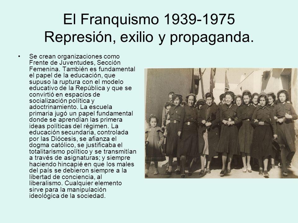 El Franquismo 1939-1975 Represión, exilio y propaganda. Se crean organizaciones como Frente de Juventudes, Sección Femenina. También es fundamental el
