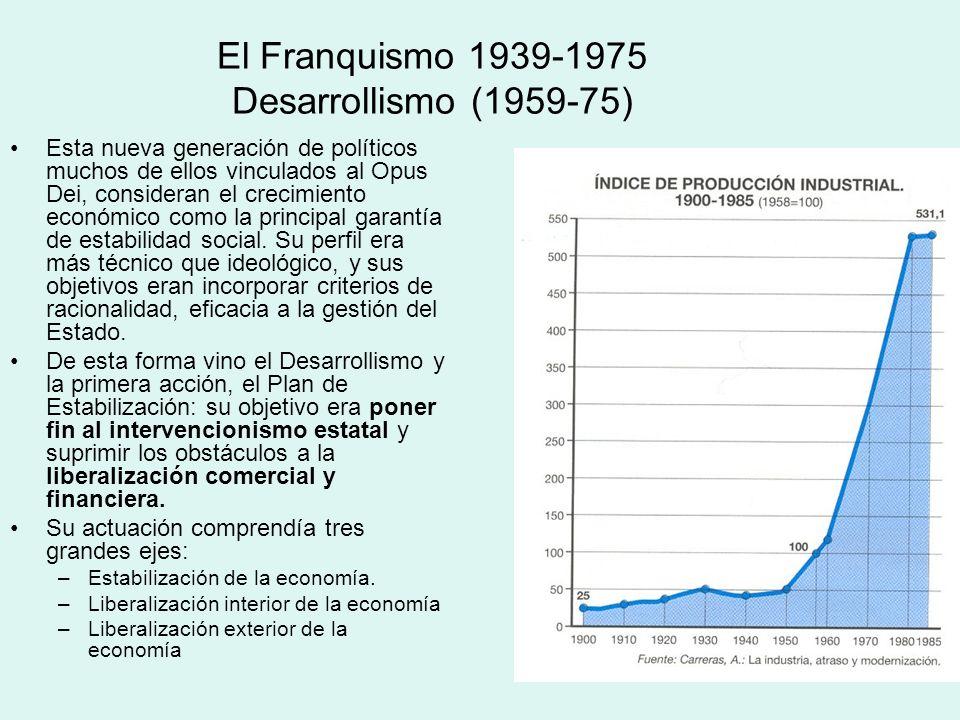 El Franquismo 1939-1975 Desarrollismo (1959-75) Esta nueva generación de políticos muchos de ellos vinculados al Opus Dei, consideran el crecimiento e