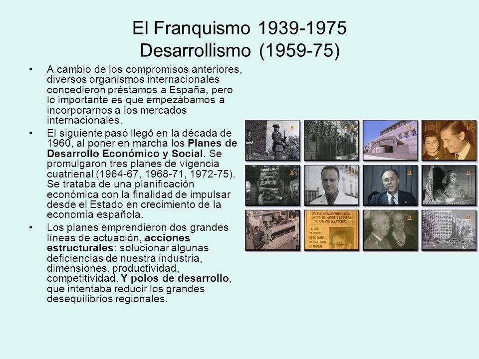 El Franquismo 1939-1975 Desarrollismo (1959-75) A cambio de los compromisos anteriores, diversos organismos internacionales concedieron préstamos a Es