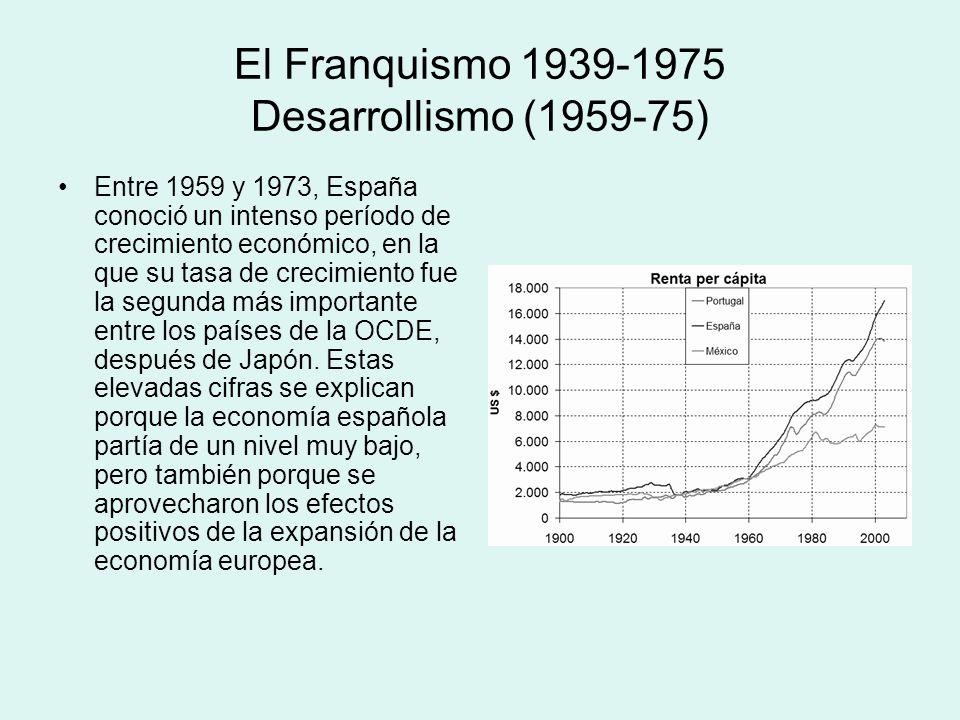 El Franquismo 1939-1975 Desarrollismo (1959-75) Entre 1959 y 1973, España conoció un intenso período de crecimiento económico, en la que su tasa de cr