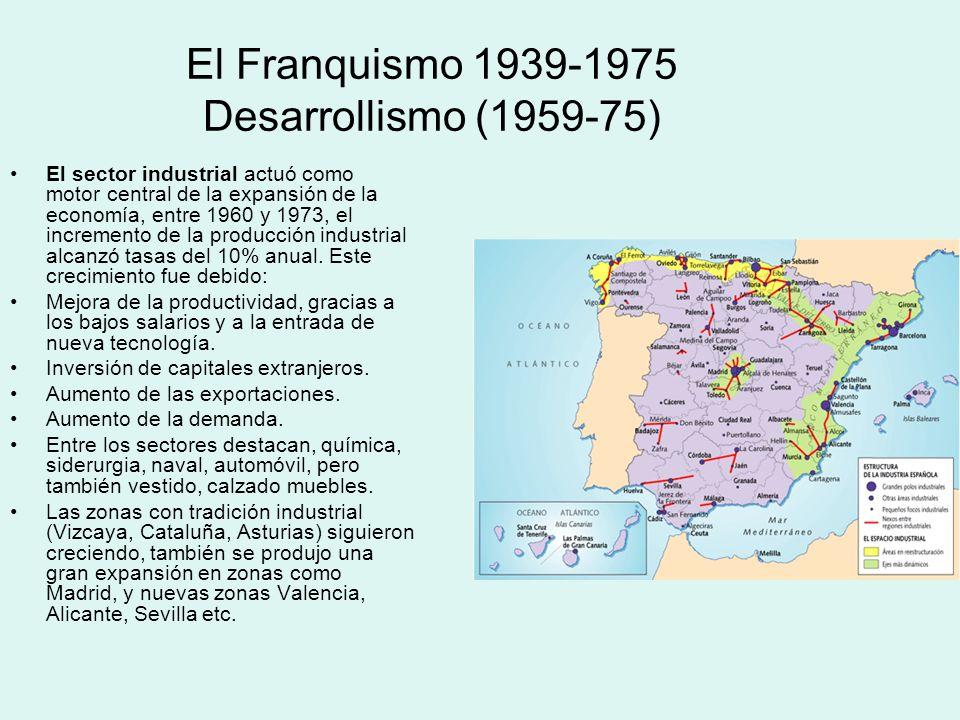 El Franquismo 1939-1975 Desarrollismo (1959-75) El sector industrial actuó como motor central de la expansión de la economía, entre 1960 y 1973, el in