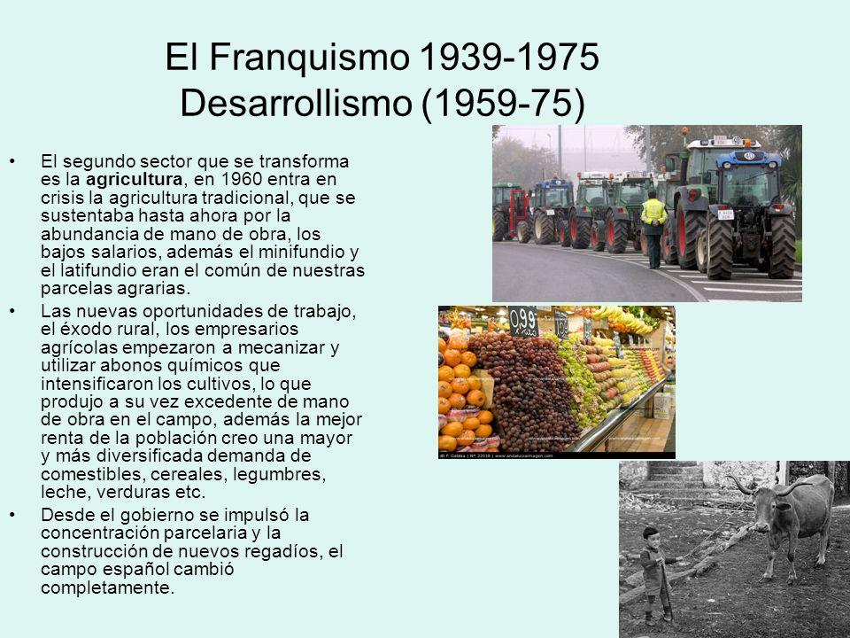 El Franquismo 1939-1975 Desarrollismo (1959-75) El segundo sector que se transforma es la agricultura, en 1960 entra en crisis la agricultura tradicio