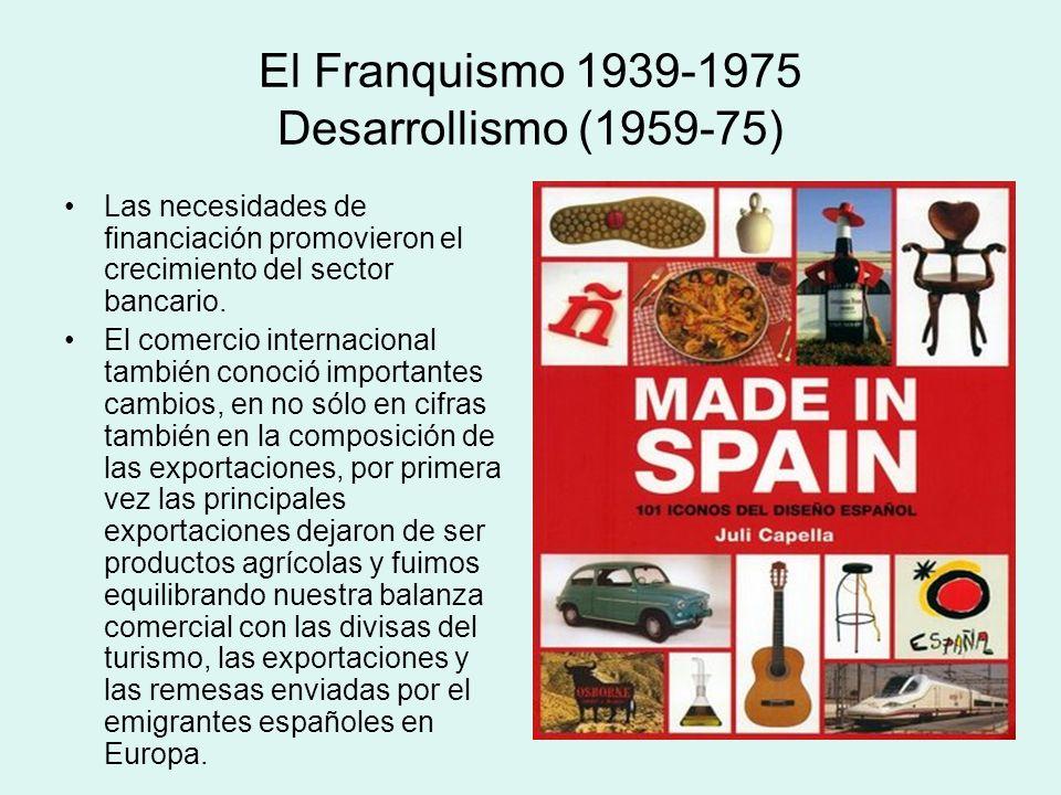 El Franquismo 1939-1975 Desarrollismo (1959-75) Las necesidades de financiación promovieron el crecimiento del sector bancario. El comercio internacio