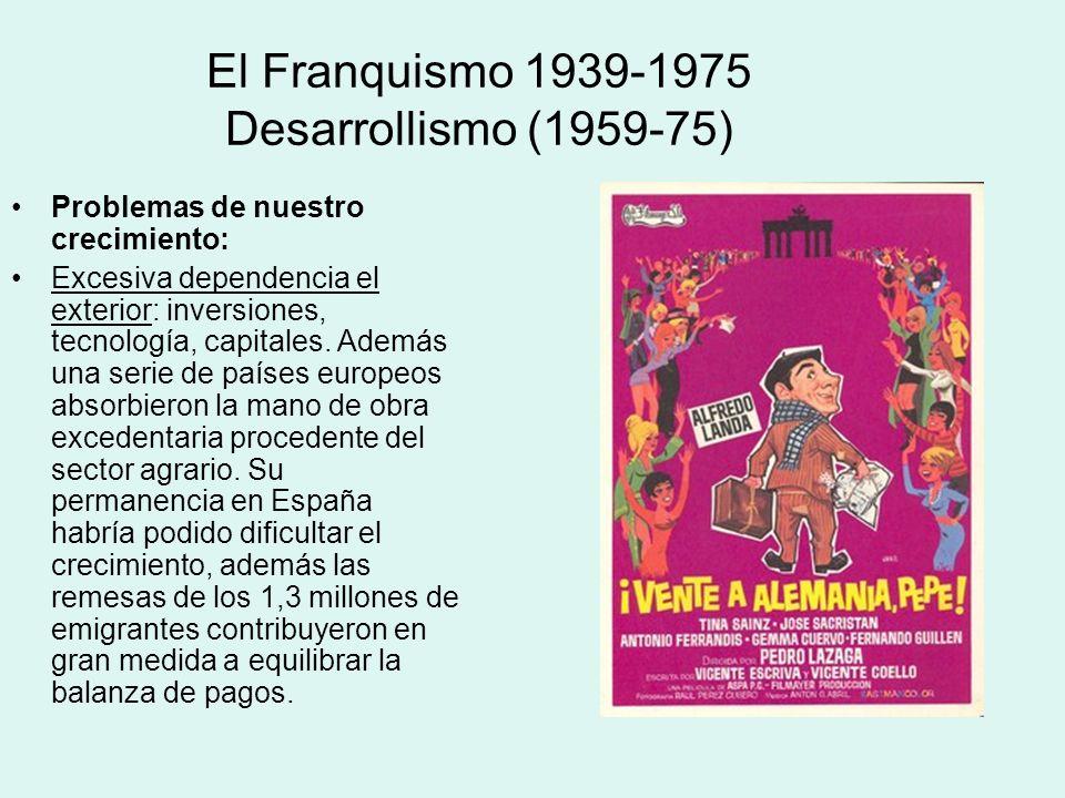 El Franquismo 1939-1975 Desarrollismo (1959-75) Problemas de nuestro crecimiento: Excesiva dependencia el exterior: inversiones, tecnología, capitales