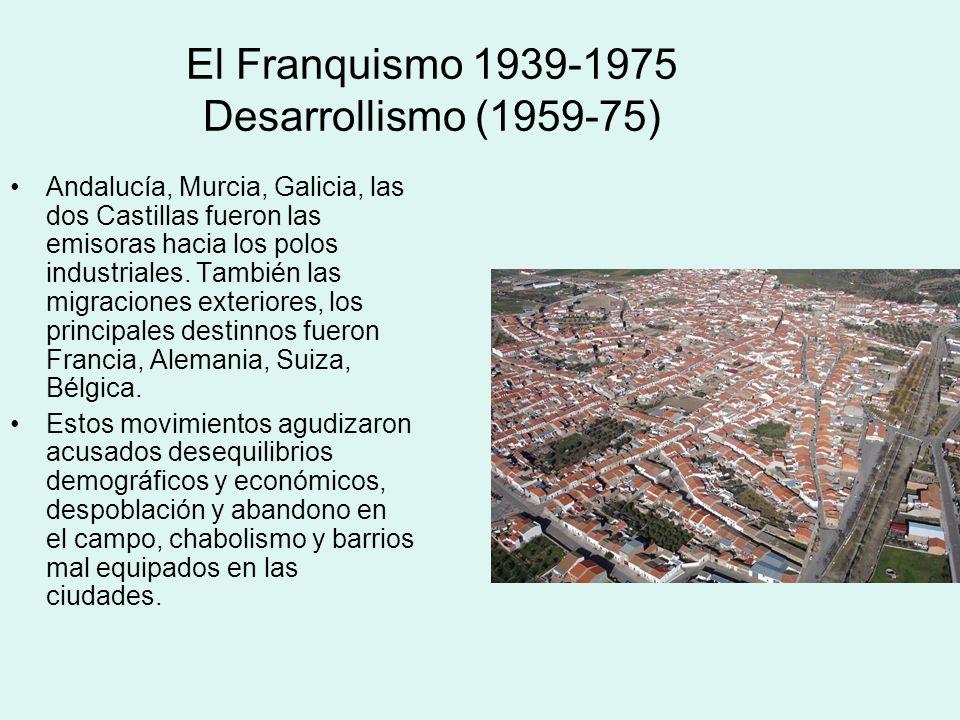 El Franquismo 1939-1975 Desarrollismo (1959-75) Andalucía, Murcia, Galicia, las dos Castillas fueron las emisoras hacia los polos industriales. Tambié