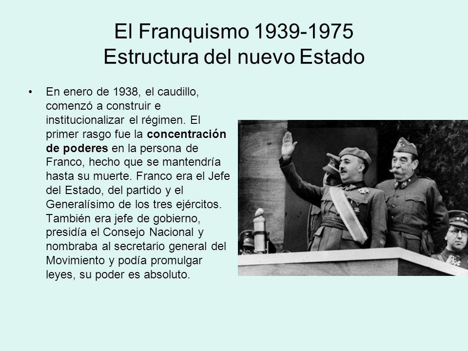El Franquismo 1939-1975 Estructura del nuevo Estado En enero de 1938, el caudillo, comenzó a construir e institucionalizar el régimen. El primer rasgo