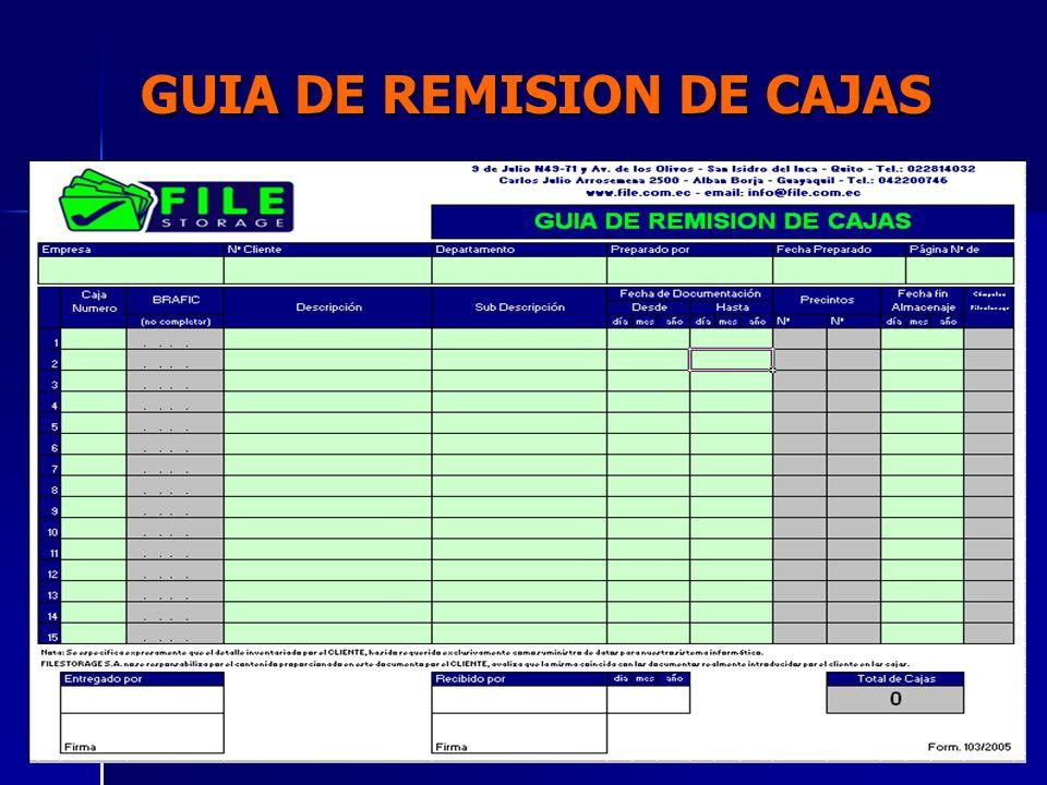 GUIA DE REMISION DE CAJAS FECHAS: Usando el ejemplo de las facturas.