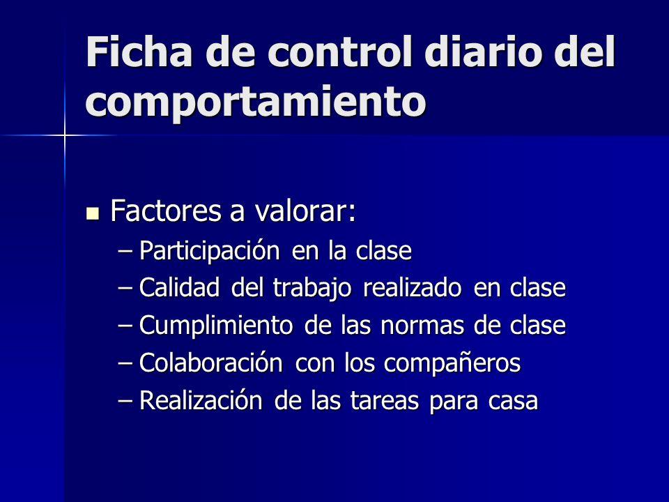 Ficha de control diario del comportamiento Factores a valorar: Factores a valorar: –Participación en la clase –Calidad del trabajo realizado en clase
